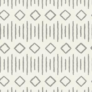 diamond fall - mud cloth - grey on bone - mudcloth farmhouse tribal - LAD19