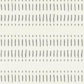 dash dot stripes - grey on bone - mud cloth inspired home decor wallpaper - LAD19