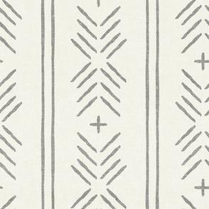 mud cloth arrow stripes - grey on bone - mudcloth tribal - LAD19