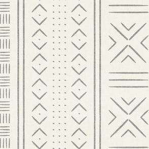 grey on bone mud cloth - dots - mudcloth tribal - LAD19