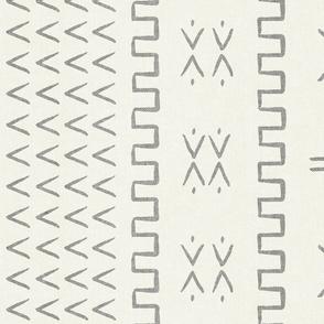 mud cloth - arrow & cross - grey on bone - mud cloth inspired home decor wallpaper - LAD19