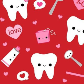XL Happy Valentine's Day Teeth - Red
