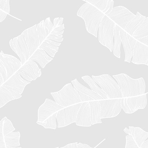 LARGE tropical banana leaves - soft grey and white