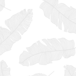 LARGE tropical banana leaves & white and soft grey