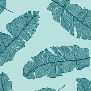 LARGE tropical banana leaves - mint and forest