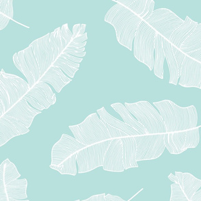 LARGE tropical banana leaves - mint and white