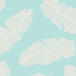 LARGE tropical banana leaves -mint and pale peach