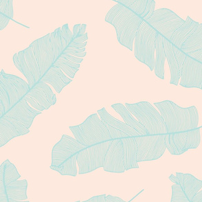 LARGE tropical banana leaves - pale peach and mint