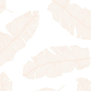 LARGE tropical banana leaves - white and pale peach