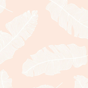LARGE tropical banana leaves - pale peach and white