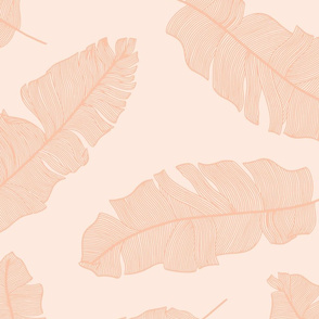 tropical banana leaves_peachy peach