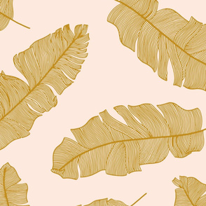 LARGE tropical banana leaves -  pale peach and mustard