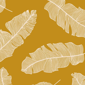 LARGE tropical banana leaves - mustard and  pale peach