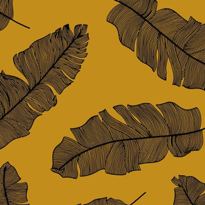 LARGE tropical banana leaves - mustard and black