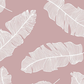 LARGE tropical banana leaves - dusty pink and white
