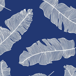 LARGE tropical banana leaves - royal blue and white