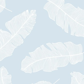 LARGE tropical banana leaves - sky blue and white