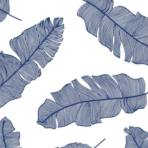 LARGE tropical banana leaves_- white and royal blue