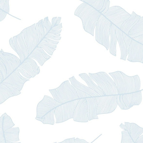 LARGE tropical banana leaves - white and sky blue