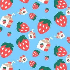 Cute Strawberry Pattern Blue