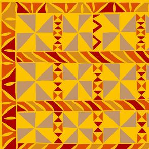 Tribal Quilt - Yellow Orange 42x36