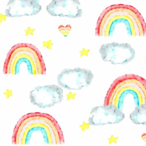 Ready Rainbow/Red Yellow Blue -with clouds and stars