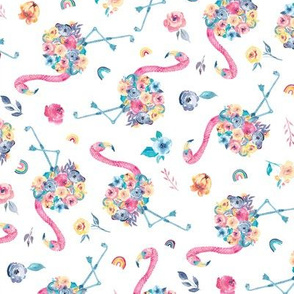 Floral Flamingo in Pastel Rainbow Colors