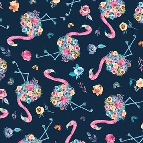 Floral Flamingo in Pastel Rainbow Colors on Dark