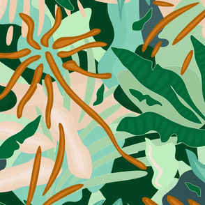 Abstract Jungle / Green Plants - Big scale
