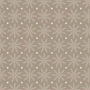 Beige daisy and dots pattern