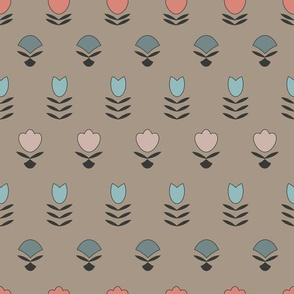 Linear simple floral pattern
