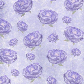 Watercolour purple peonies flowery pattern