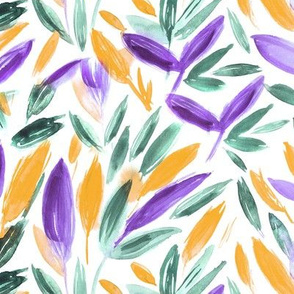 Watercolor leaves • purple, emerald and mustard • fall painted nature