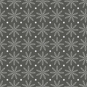 Grey daisies and dots pattern