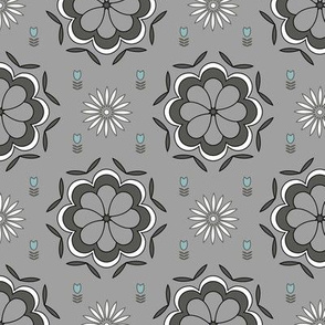 Grey geometric floral pattern