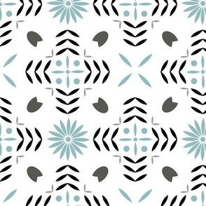 Geometric abstract leaf and flower pattern
