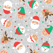 "(3/4"" scale) holiday gang - cute Christmas fabric - santa, mrs. claus, reindeer, snowman, elf - grey - LAD19BS"