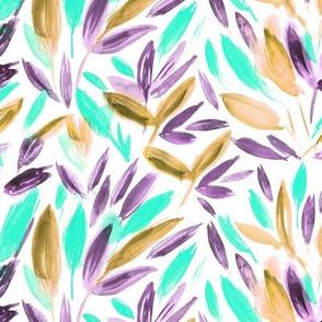 Watercolor leaves • aqua, earthy, amethyst • painted nature
