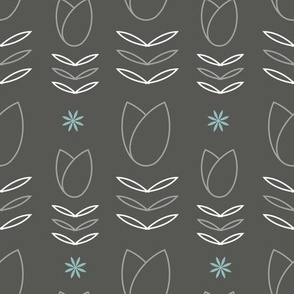 Grey tulip and daisy pattern