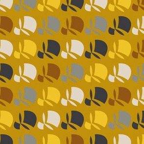 Yellow abstract geometric flower pattern