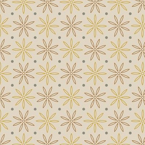 Cream daisy and dots pattern
