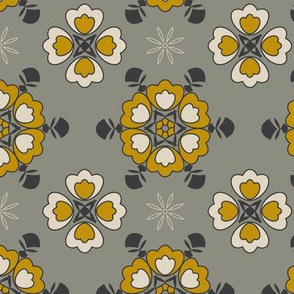 Grey abstract geometric floral pattern