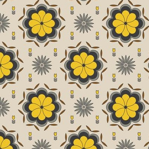 Cream geometric floral pattern
