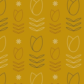 Yellow tulip and daisy pattern