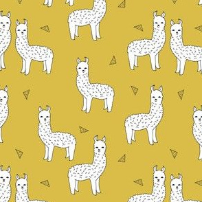 SMALL - alpaca // mustard yellow alpaca fabric cute andrea lauren design llamas fabric nursery baby mustard yellow