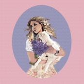 girl and lamb pastel