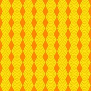 JP36 - Tiny  - Harlequin Art Deco Diamond Medley  in Orange on Bright Yellow