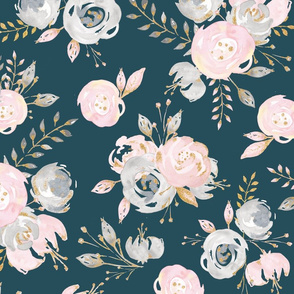 blush gold glitter teal floral