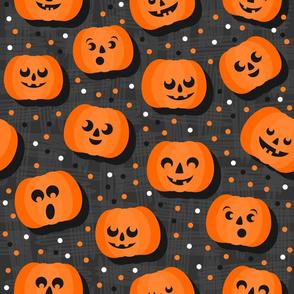 happy pumpkins on dark large size