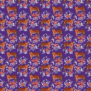 SMALL - tiger fabric - orange and purple mascot design - florals